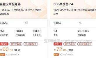 阿里云轻量应用服务器和ECS共享型n4有什么区别?